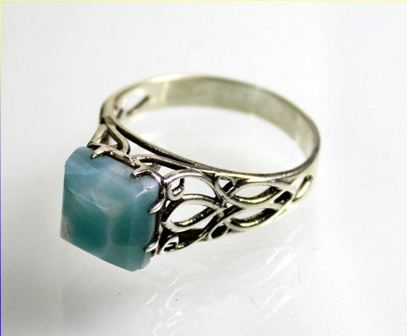 Charming Design Natural Sky Blue Larimar .925 Sterling Silver Ring #12