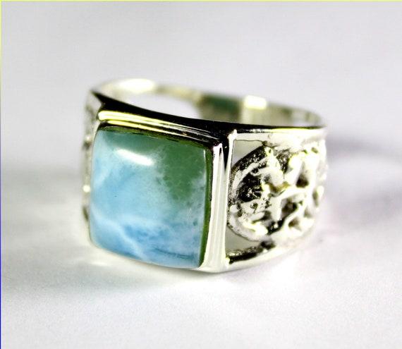 Impressive Natural Sky Blue Larimar Panda Ring #12 for men, unisex