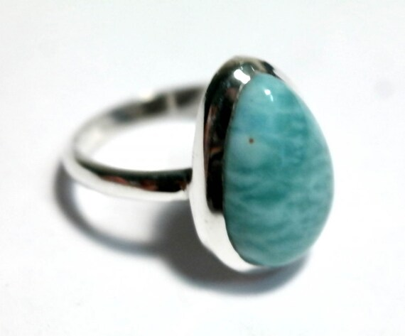Prettily Ocean Blue Larimar .925 Sterling Silver Ring # 7