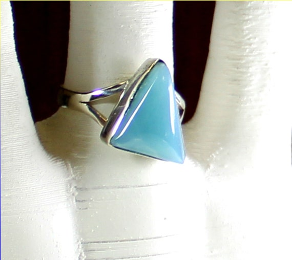 Lovely Natural Ocean Blue Larimar .925 Sterling Silver Ring #8.5