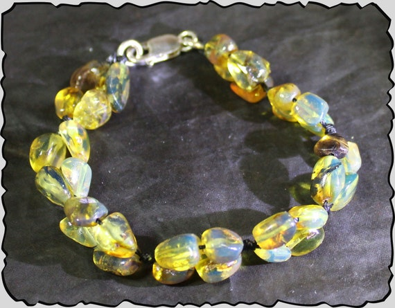 Impressive Natural Dominican Clear Sky Blue Amber .925 Sterling Silver Bracelet 7.5inch