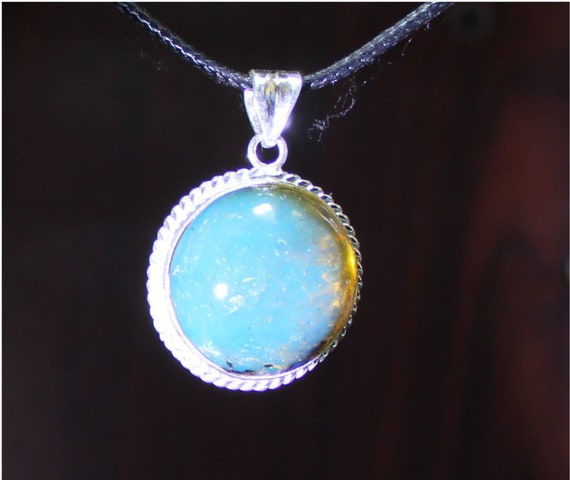 Outstanding Dominican Clear Sky Blue Amber .925 Sterling Silver Pendant 38mm C-74-1823