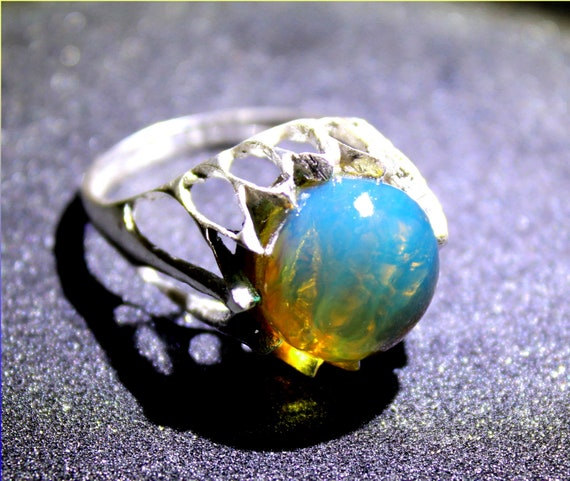 Premium Dominican Natural Crystal Clear Sky Blue Amber .925 Sterling Silver Ring #9.5