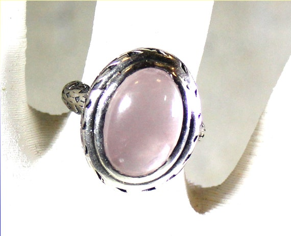 Exquisite Handcrafted Natural Clear Light Pink Labrodorite .925 Sterling Silver Oval Ring #6.5