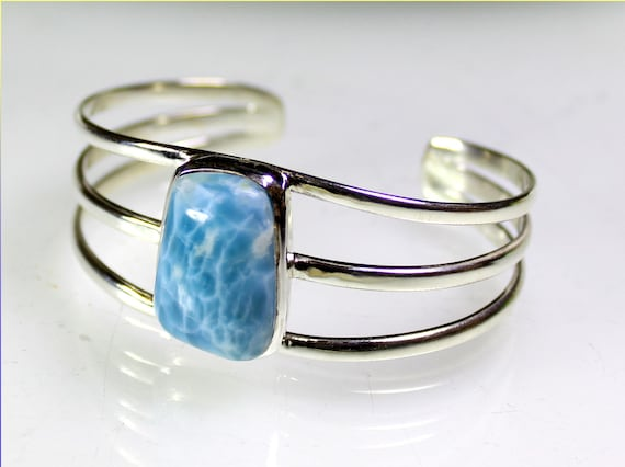 Finest Natural Sky Blue AAA++ Larimar .925 Sterling Silver Bangle 7.2 inch