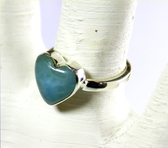 Finest Natural Deep Blue Larimar .925 Sterling Silver Heart Ring #6