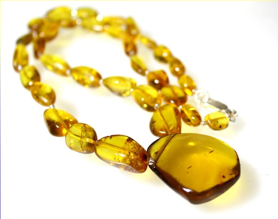 Exquisite Dominican Natural Clear Orange Green Amber .925 Sterling Silver Necklace 20.5inch