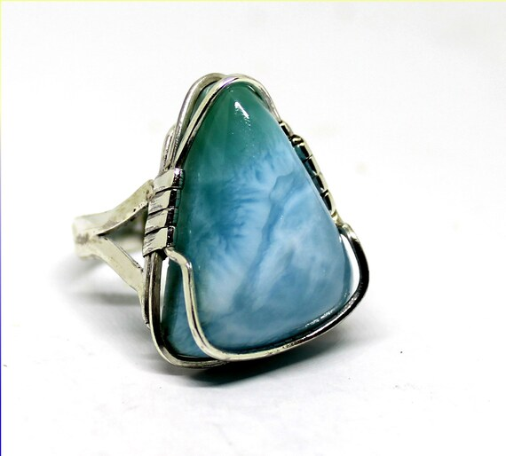 Handcrafted Exquisite Natural Sky Blue AAA++ Larimar .925 Sterling Silver Ring #7 free resize