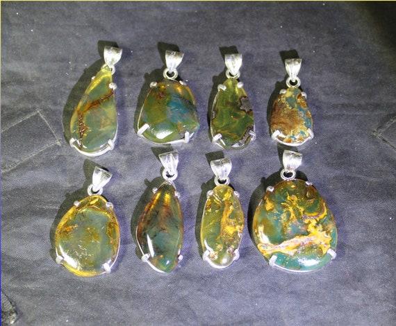 Wholesale Liquidation lot 8 Sky Blue Olive Green Genuine Amber .925 Sterling Silver Pendants biggest 45mm