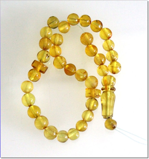 Dominican Clear Yellow Green Amber Misbaha,worry Beads Islamic Prayer Beads Komboli 8mm