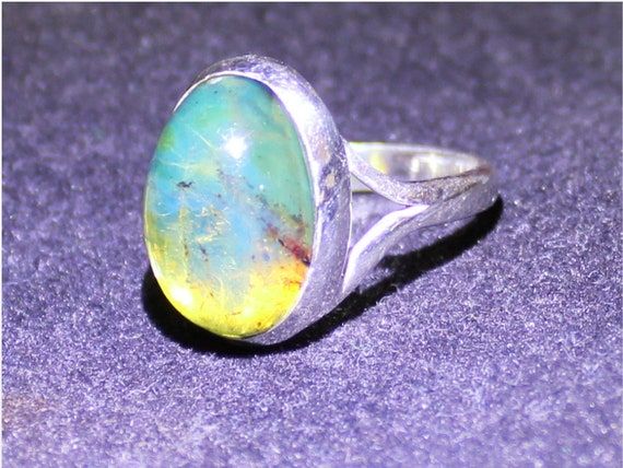 Dominican Natural Clear Sky Blue Green Amber .925 Sterling Silver Ring #7