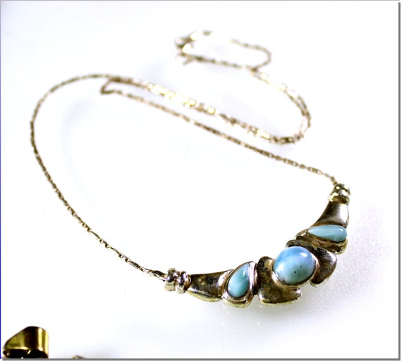 Beautiful Natural Sky Blue Larimar .925 Sterling Silver Necklace 18.5 inch