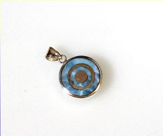 Exquisite Natural Sky Blue Larimar .925 Sterling Silver Target Pendant 35mm