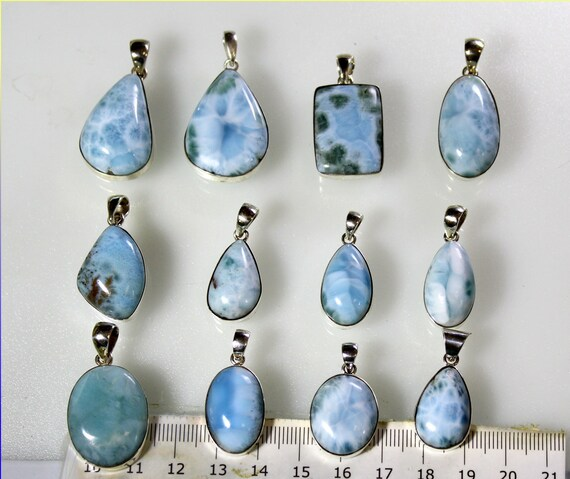 Wholesale Liquidation lot 12 Sky Blue Genuine Larimar .925 Sterling Silver Pendants 81 grams