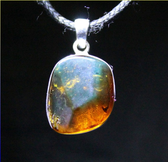 Dominican Natural Clear Blue Orange Amber .925 Sterling Silver Pendant 28mm