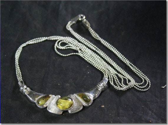 Dominican Natural Clear Yellow Amber .925 Sterling Silver Necklace 17.5inch