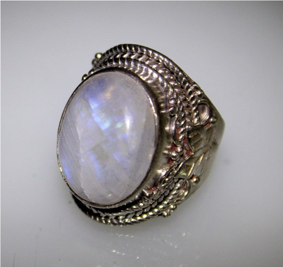Hugh Natural Fire Clear Light Purple Moonstone .925 Sterling Silver Ring #8.5