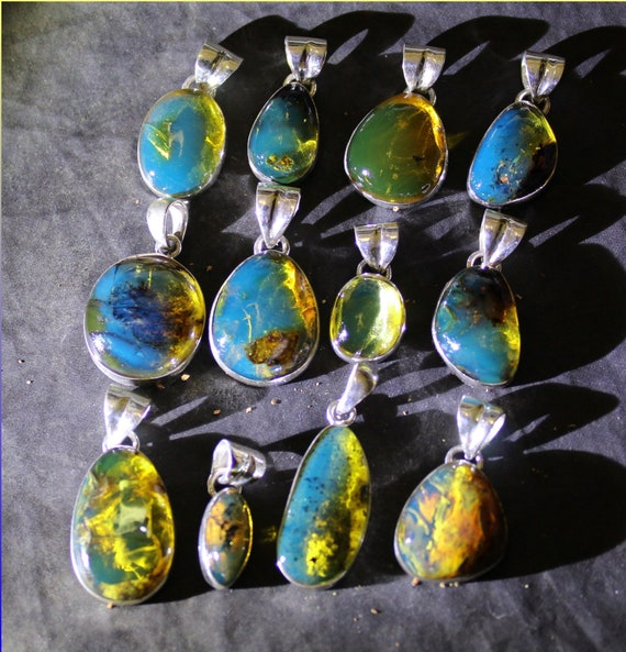 Wholesale Liquidation lot 12 Sky Blue Genuine Amber .925 Sterling Silver Pendants biggest 32mm
