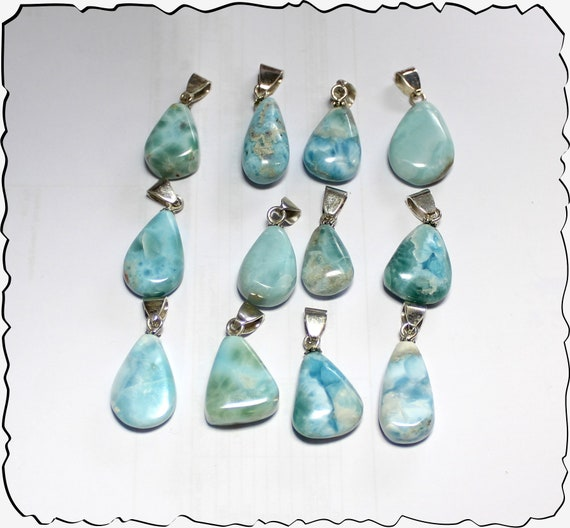 Wholesale Liquidation lot 12 Sky Blue Genuine Larimar .925 Sterling Silver Pendants 67 grams