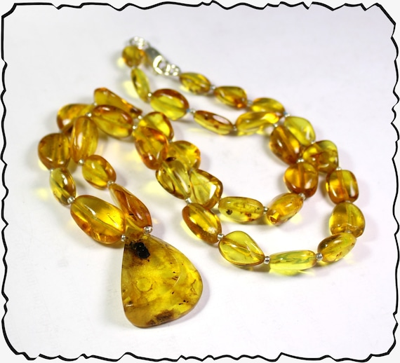 Impressive Natural Clear Yellow Amber .925 Sterling Silver Necklace 20inch