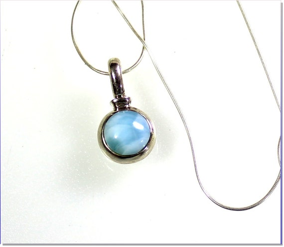 Sky Blue Round Larimar .925 Solid Sterling Silver Necklace free snake chain