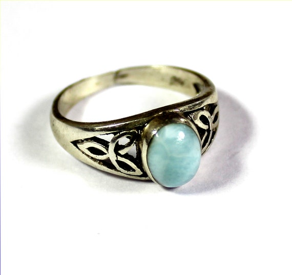 Lovely Celtic Natural Light Blue Larimar .925 Sterling Silver Ring #7 free resizing
