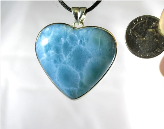Hugh 2 inch Premium Sky Blue AAA++ Larimar .925 Sterling Silver Heart Pendant 171ct