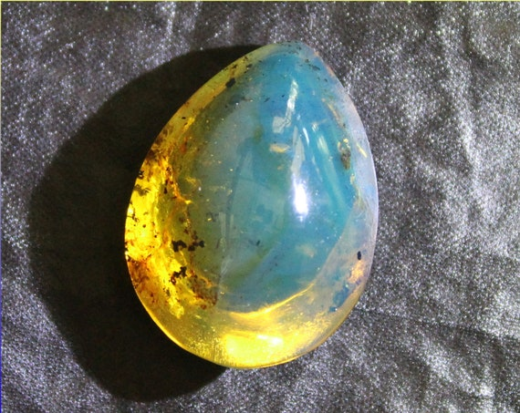 Excellent Dominican Natural Teardrop Clear Sky Blue Amber Cabochon 27x19x13mm