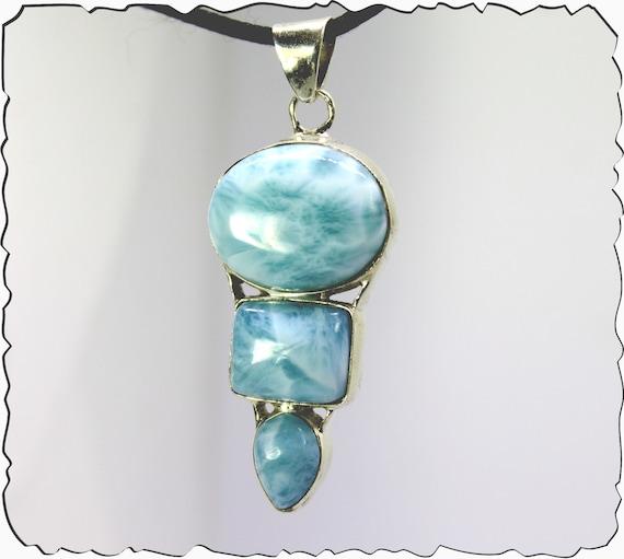 Impressive 2.3inch Natural Sky Blue Larimar .925 Sterling Silver Pendant  77.5ct