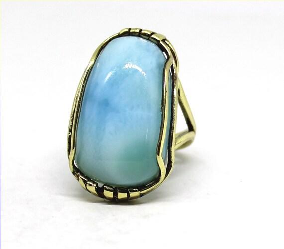 Exquisite Natural Sky Blue Larimar Atlantis Gold Ring #7.5