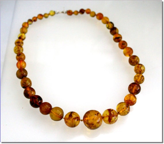 Dominican Natural Clear Orange Green Amber Round Bead Sphere (biggest 19.5mm)  .925 Sterling Silver Necklace 19.5 inch
