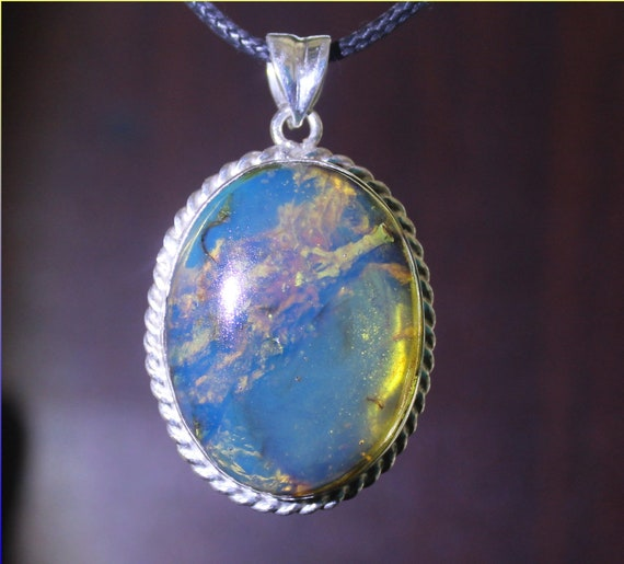 Hugh 2 inch Premium Dominican Clear Sky Blue Amber .925 Sterling Silver Pendant