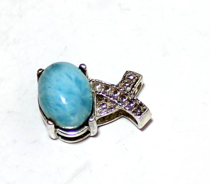 Impressive Light Blue Larimar .925 Sterling Silver Pendant 20mm   C-92-1773