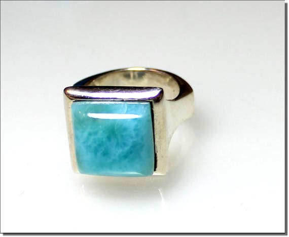 Impressive Natural Genuine Sky Blue Larimar .925 Sterling Silver Ring #8  C-45-1809