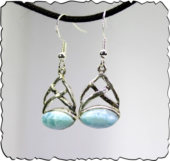 Finest 1.6 inch Natural Light Blue Larimar .925 Sterling Silver Earrings