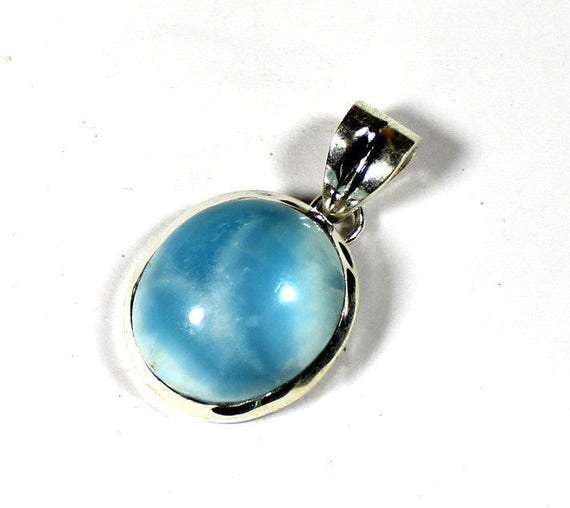 Outstanding Volcanic Blue Larimar .925 Sterling Silver Oval Pendant 30mm C-24-1710