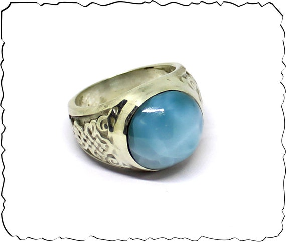 Exquisite Natural Deep Blue AAA++ Larimar .925 Sterling Silver Ring #11 for men unisex