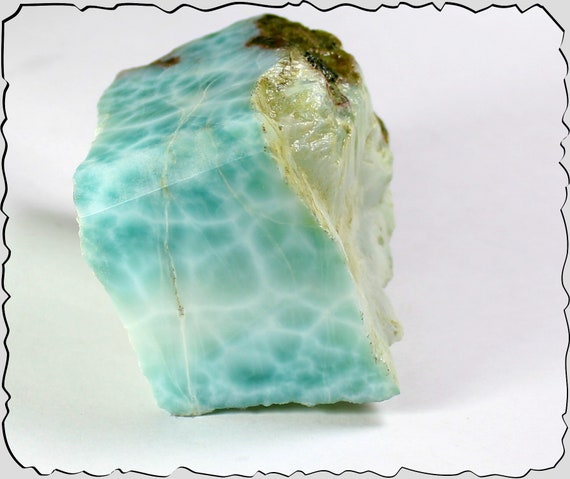 Excellent Dominican Natural Light Blue polished Larimar Chunk Rough Specimen 62x52x42mm 245grams