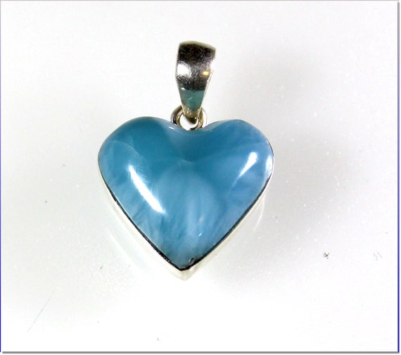 Excellent Premium Natural Sky Blue AAA++ Larimar .925 Sterling Silver Heart Pendant  28mm