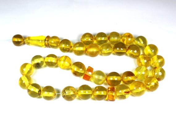 Dominican Clear Yellow Amber Misbaha,worry Beads Islamic Prayer Beads Komboli 10mm  C-08-1756