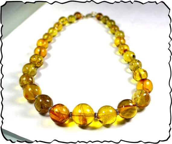 Impressive Dominican Natural Yellow Round Bead Sphere Amber .925 Sterling Silver Necklace 18inch