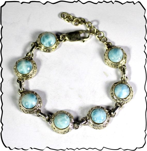 Charming Design Natural Light Blue Larimar .925 Sterling Silver Bracelet 6.5 +ext