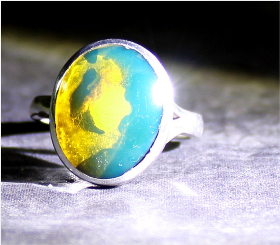 Dominican Natural Clear Yellow Blue Amber .925 Sterling Silver Ring #6