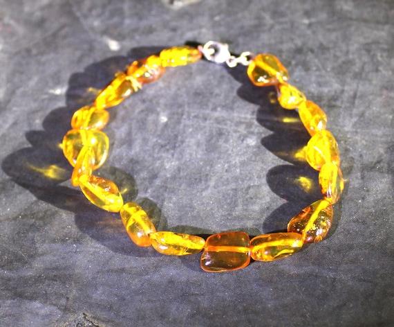 Dominican Clear Orange Green Amber .925 Sterling Silver Bracelet 8.5 inch C-08-1734