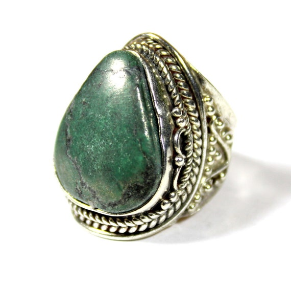 Excellent Deep Green Jade .925 Sterling Silver Ring #7.5