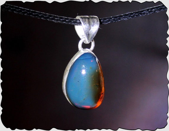 Outstanding Dominican Natural Crystal Clear Blue Red Amber .925 Sterling Silver Pendant 28mm