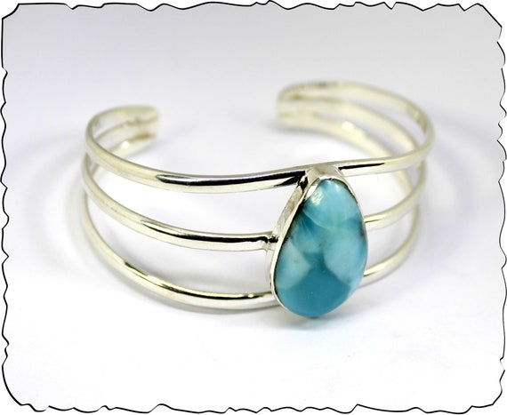 Exquisite Natural Sky Blue Larimar .925 Sterling Silver Bangle 6.6inch