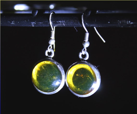 Dominican Natural Clear Orange Green Amber .925 Sterling Silver Earrings 1.4inch