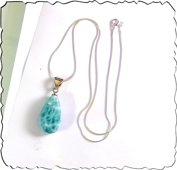 Lovely Natural Sky Blue Larimar .925 Sterling Silver Necklace 17.5inch