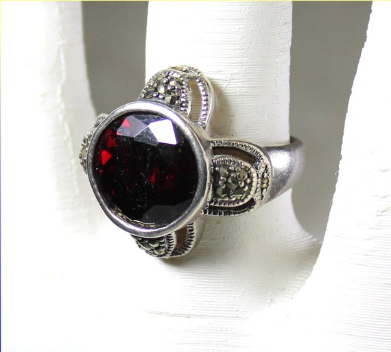 Exquisite Clear Deep Red Garnet Zircon .925 Sterling Silver Ring #7